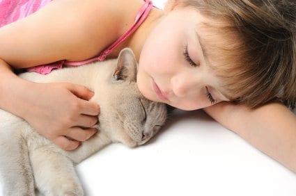 cat sleeping with child
