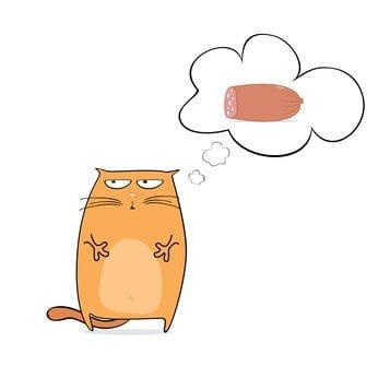 cartoon cat dreaming of sausage